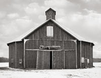 old,octagon,shaped,barn,winter, indiana