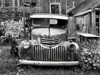 old,truck,maine,lobsterman,yard