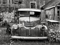 old,truck,maine,lobsterman,yard