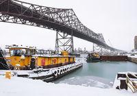 chicago,skyway,bridge,tug,boat,winter