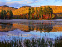 autumn,vermont,pond,sunset