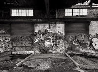 the-thinker,abandoned,warehouse,graffiti,chicago