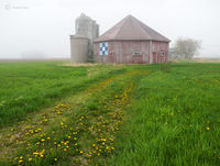 octagon,barn,foggy,morning,wisconsin