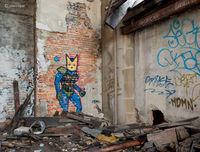 alien,visitor,rust,belt,abandoned,church,street,art
