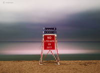 off,duty,lake,michigan,lifeguard,chair,dusk