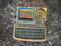 kindergarten,memory,rust,belt,discarded,big,bird,learning,toy,abandoned,school