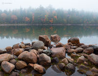 foggy,pond,maine,autumn,acadia,national,park
