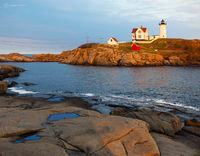 sunset,maine,lighthouse,cape,neddick