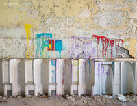 urinals,abandoned,school,rust,belt