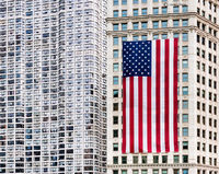 independence,day,large,american,flag,chicago,skyscrapers