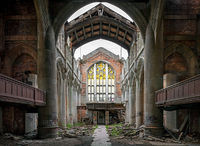 ghostly, cathedral,crumbling,church,rust,belt,abandoned,faith