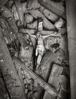 sacrafice,rubble, fallen,cross,abandoned,church,rust,belt