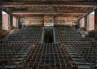 abandoned,high,school,auditorium,burnt,rust,belt