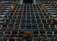 burnt,abandoned,high,school,auditorium,seats,rust,belt