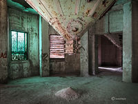 green,room,abandoned,cement,factory,rust,belt