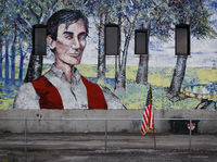 abraham,lincoln,mural,flag,illinois