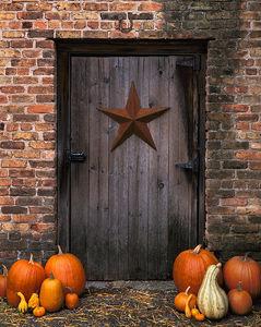 Barn Door & Pumpkins