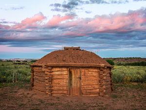 Navajo Hogan At Dawn