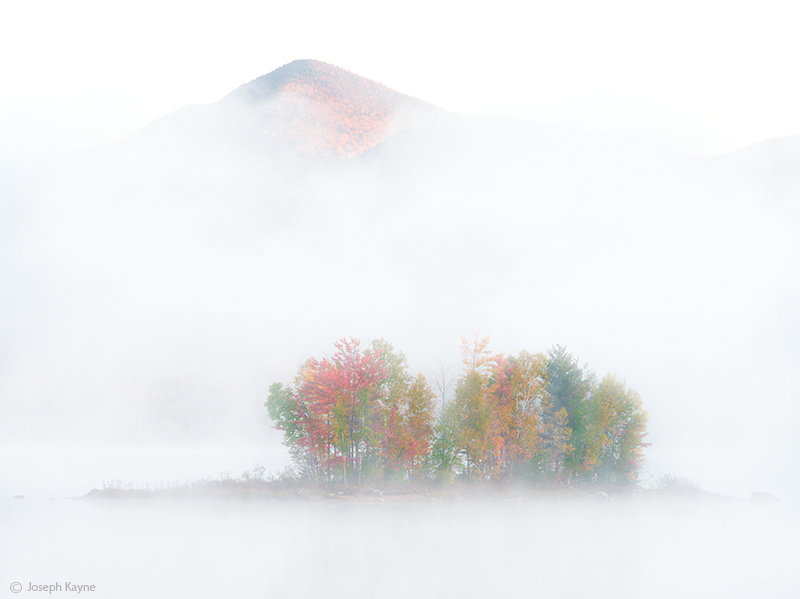 emergence, green,mountains,vermont,pond,autumn,fog,rising