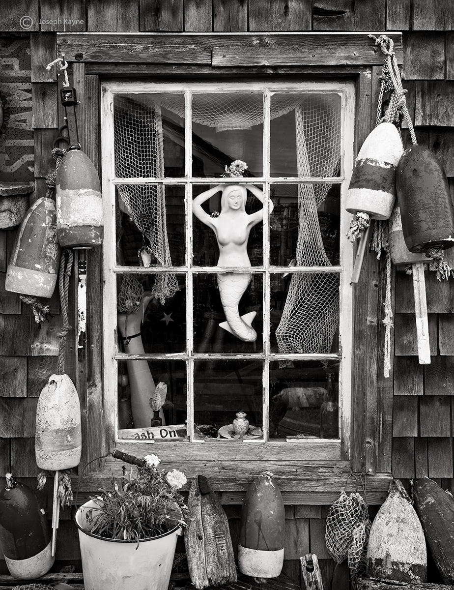 mermaid,maine,fisherman,shack,window, photo