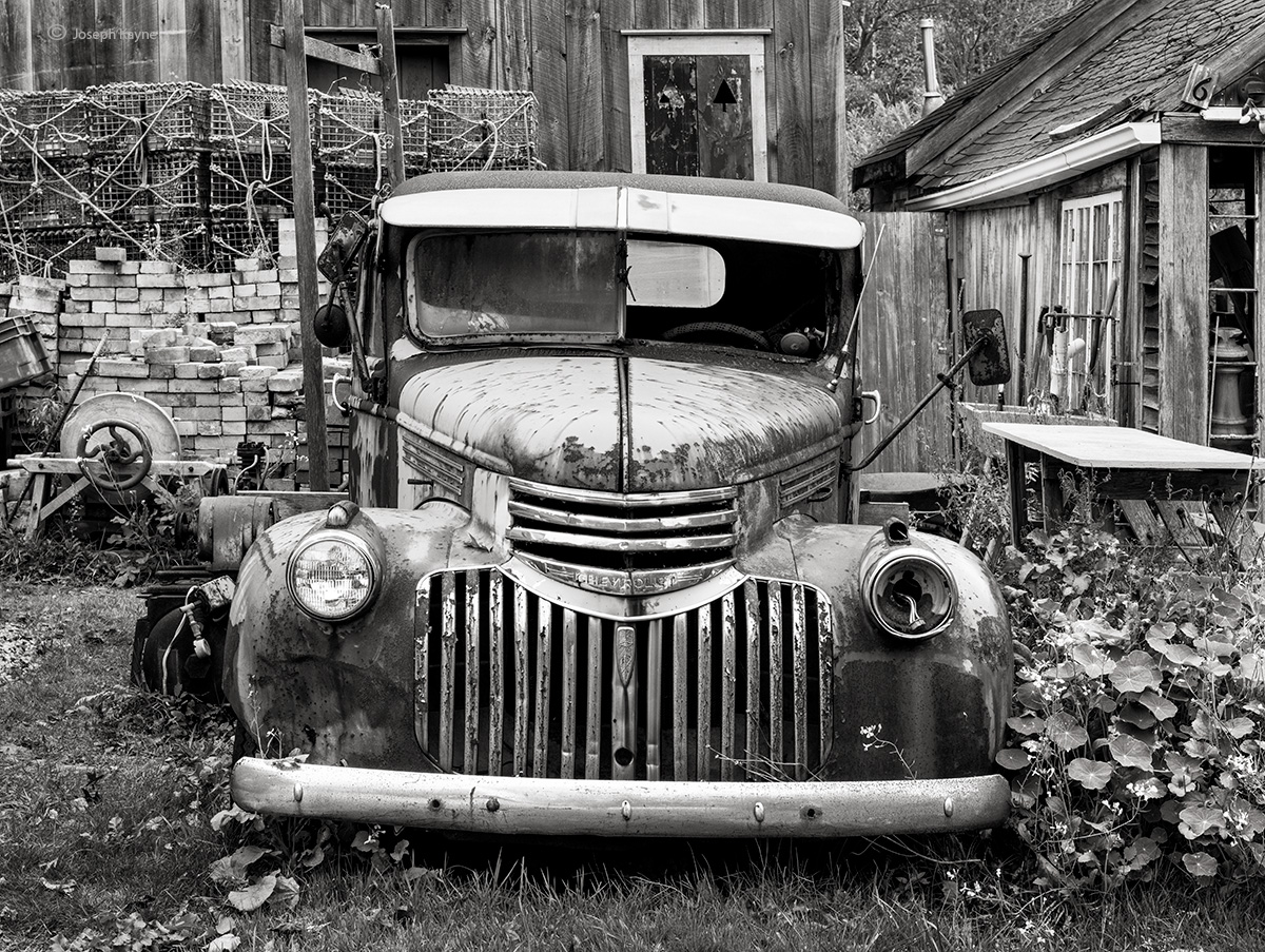 old,truck,maine,lobsterman,yard, photo