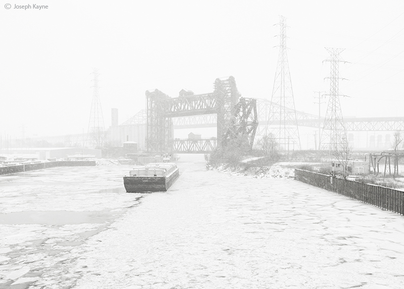 Barge In Snowstorm,Lake Michigan