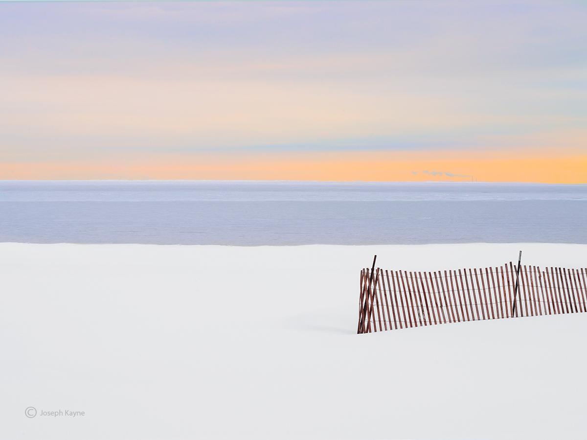 snow,fence,frozen,lake,michigan,illinois, photo