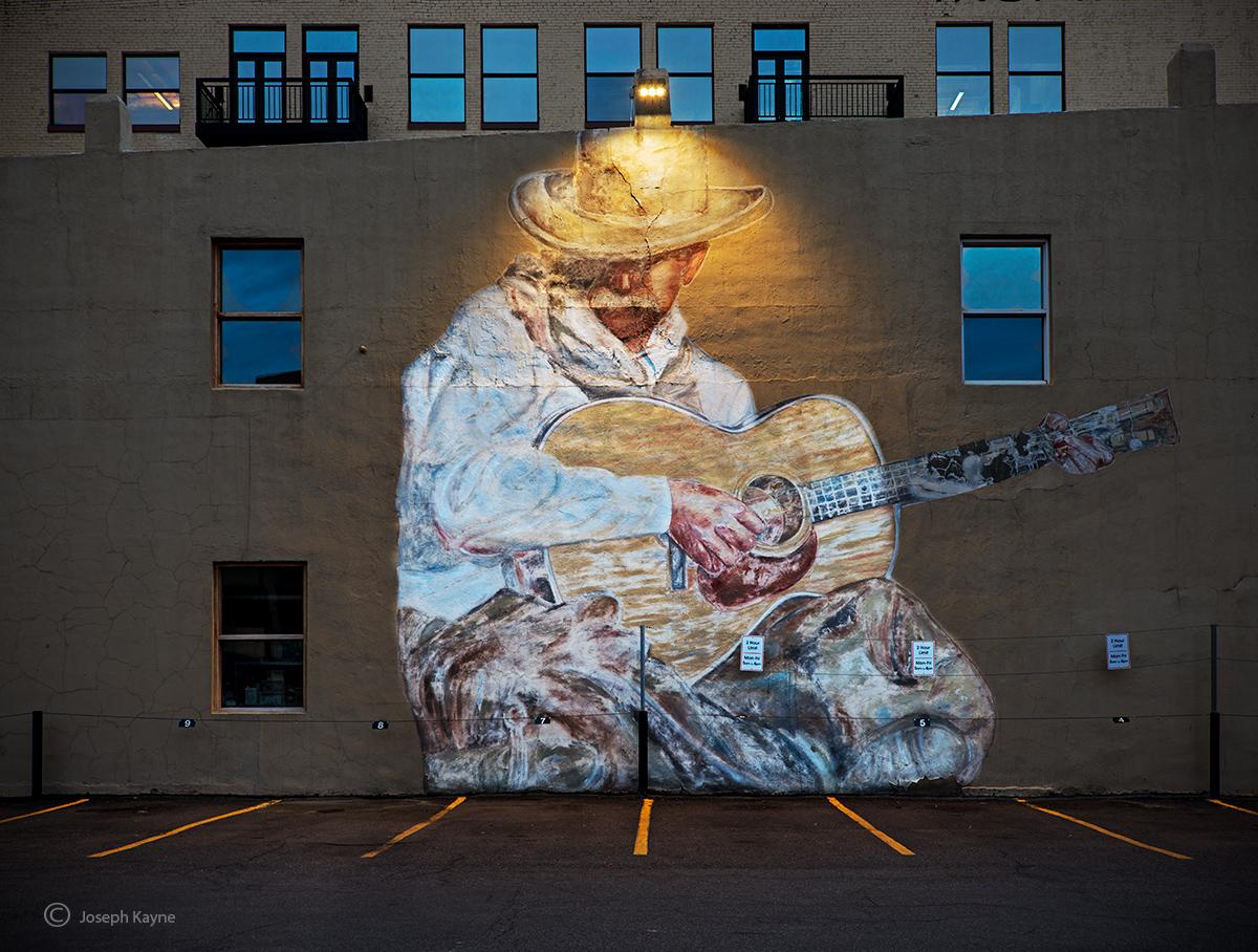 Cowboy Mural At Night