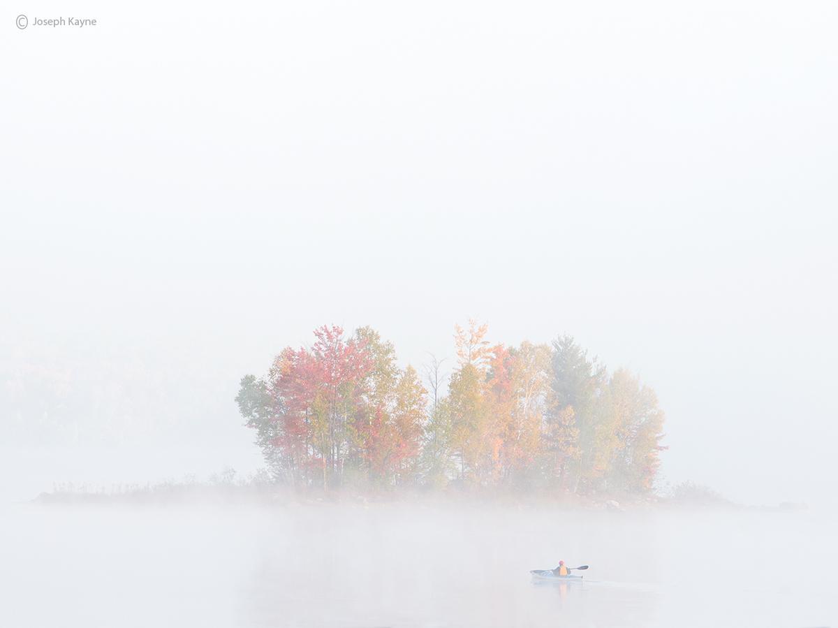 misty,morning,kayaker,fog,vermont,pond, photo