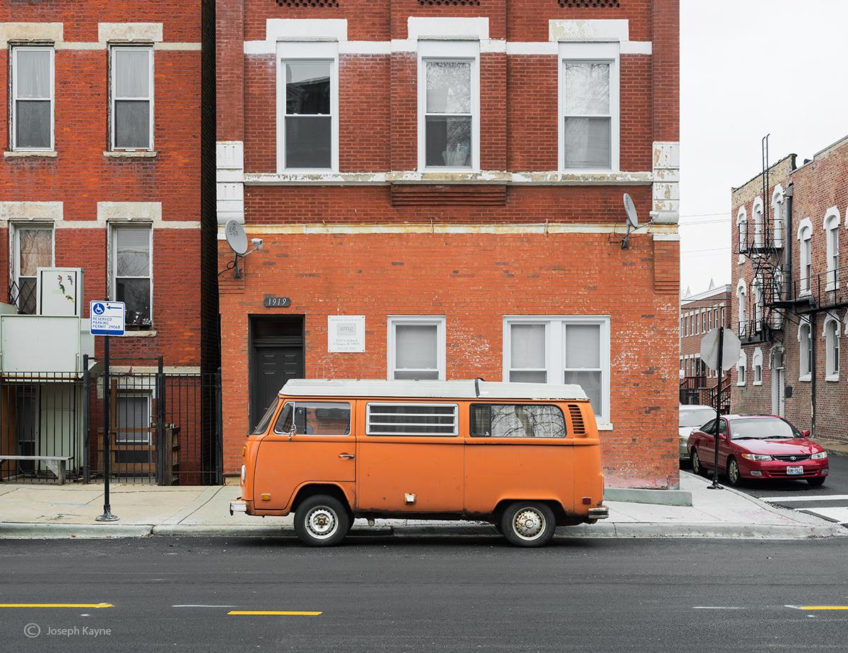 old,orange,vw,volswagon,van,chicago,street, photo