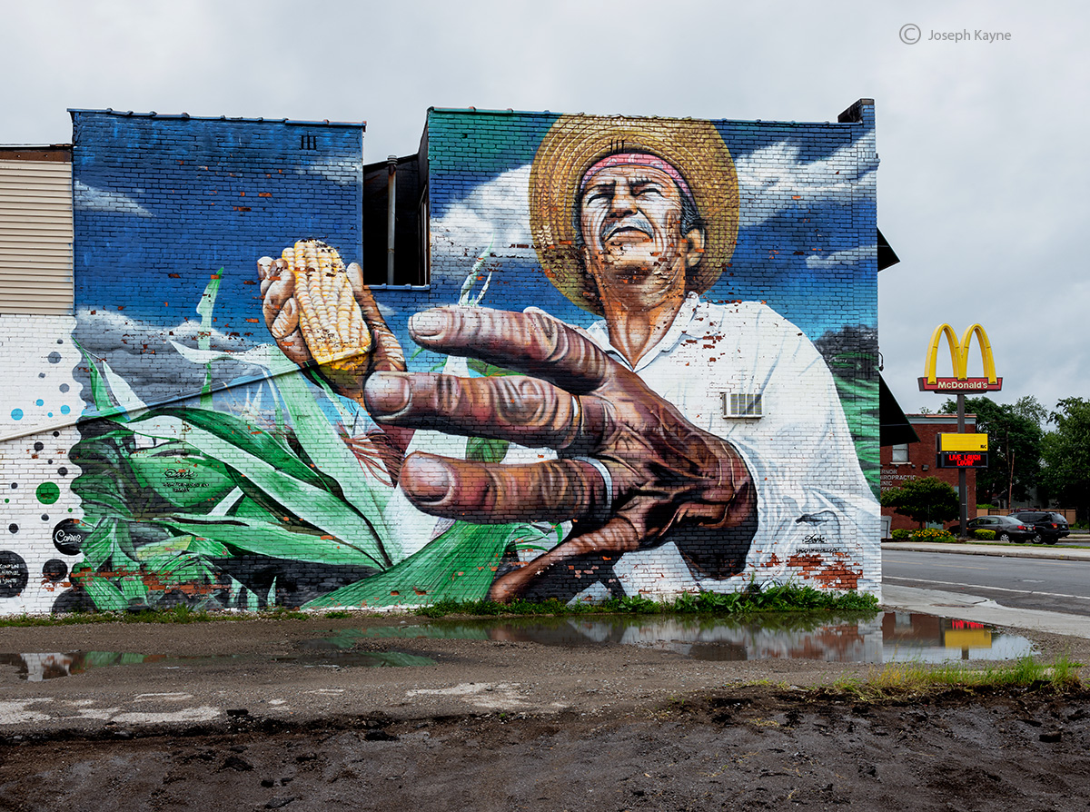 irony,mural,farmer,mcdonalds, photo