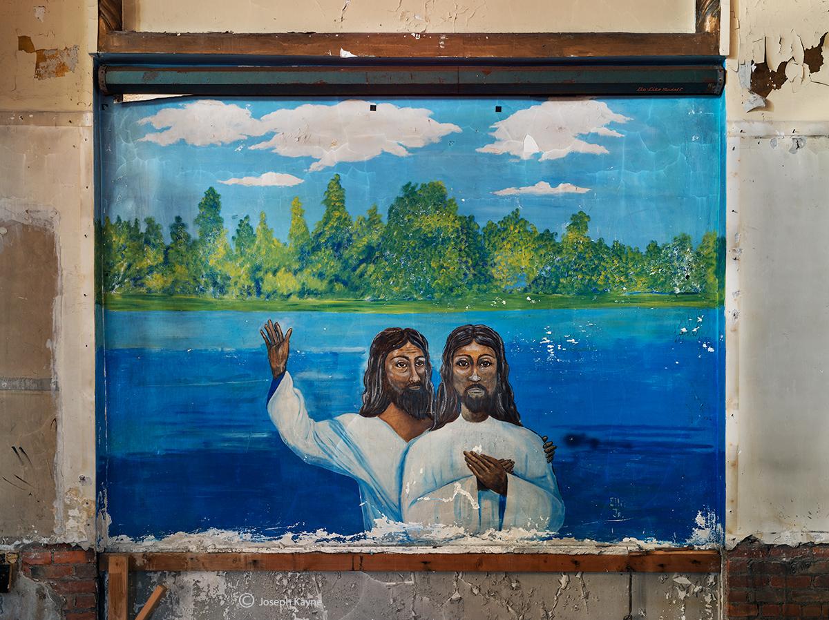 abandoned,faith,church,mural,john,the,baptist,rust,belt, photo