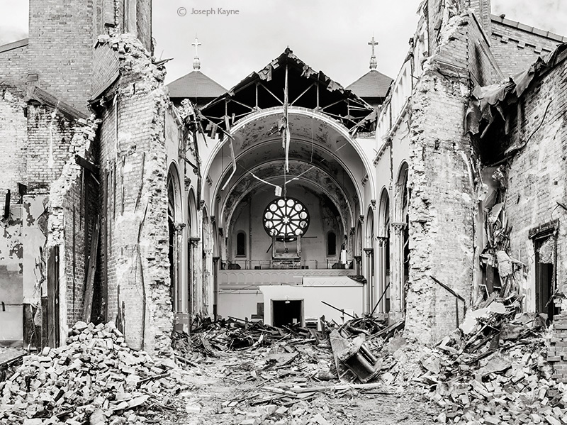 razing,st,dominics,church,chicago,abandoned,faith, photo