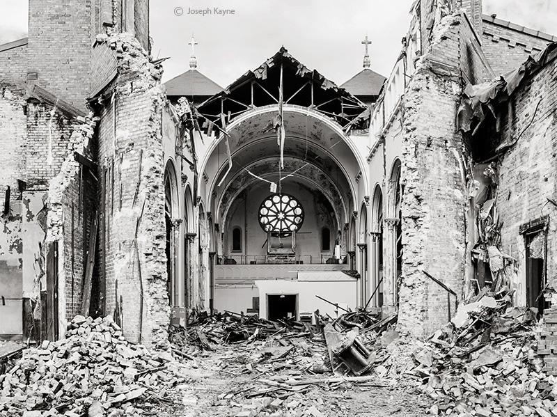 razing,st,dominics,church,chicago,abandoned,faith, photo