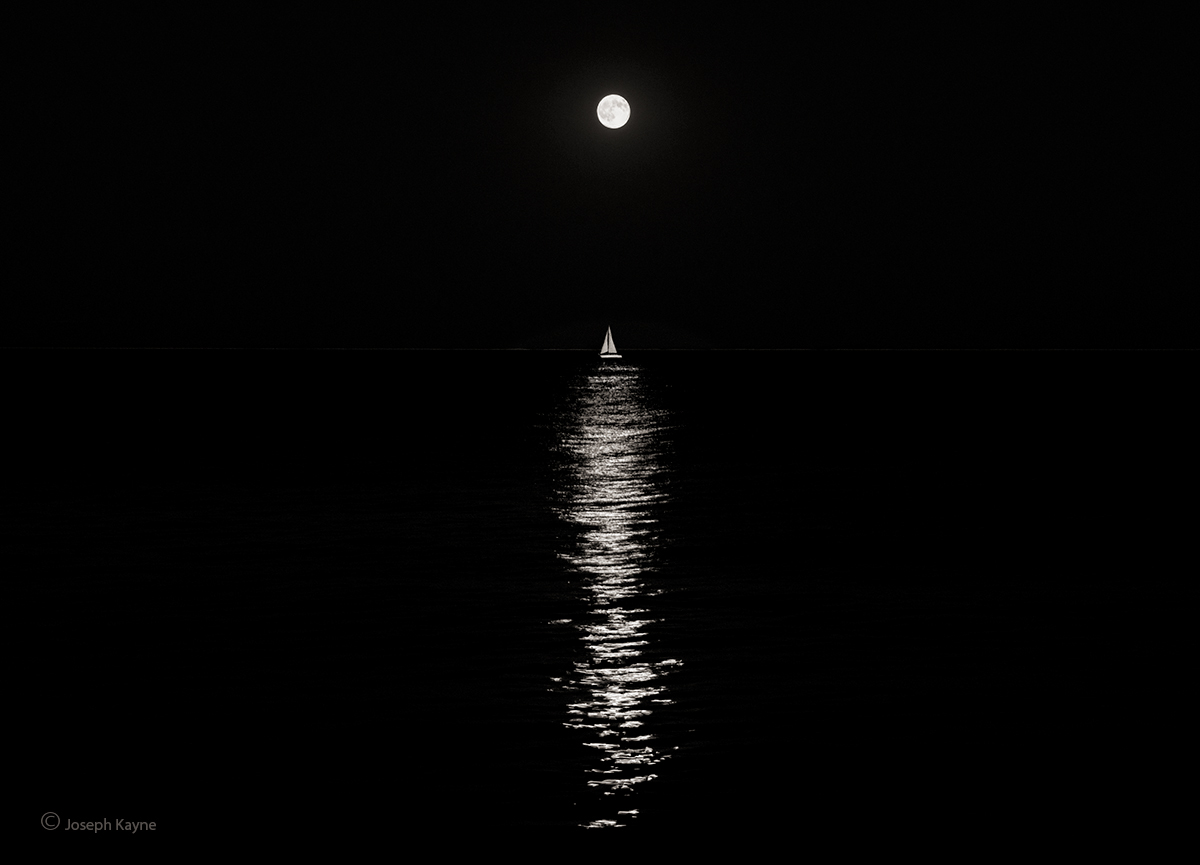 Moonlit Sailboat,Lake Michigan