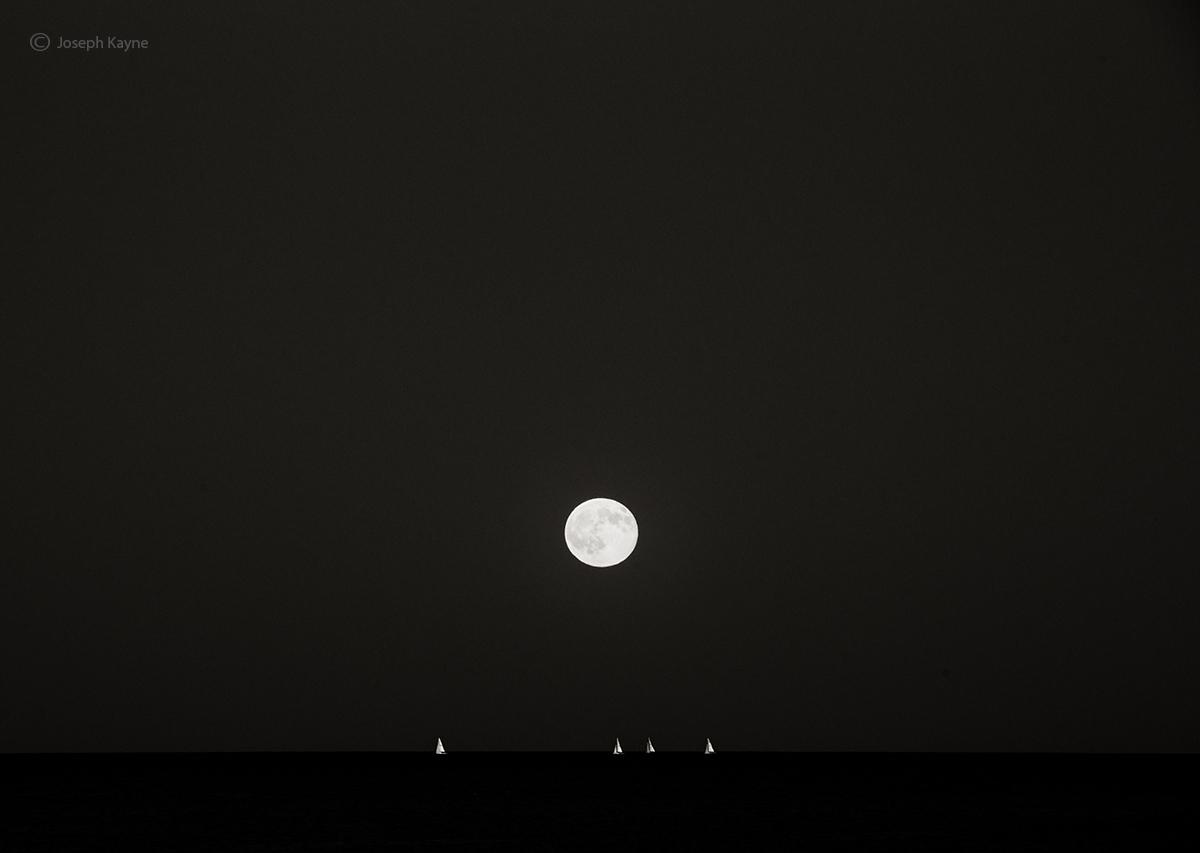 Sailboats Under A Full Moon,Lake Michigan