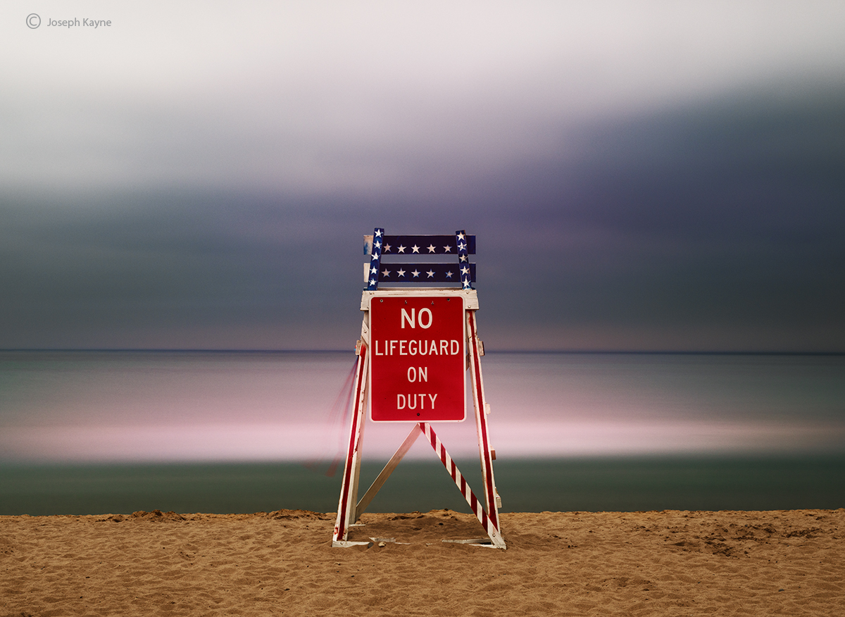 off,duty,lake,michigan,lifeguard,chair,dusk, photo