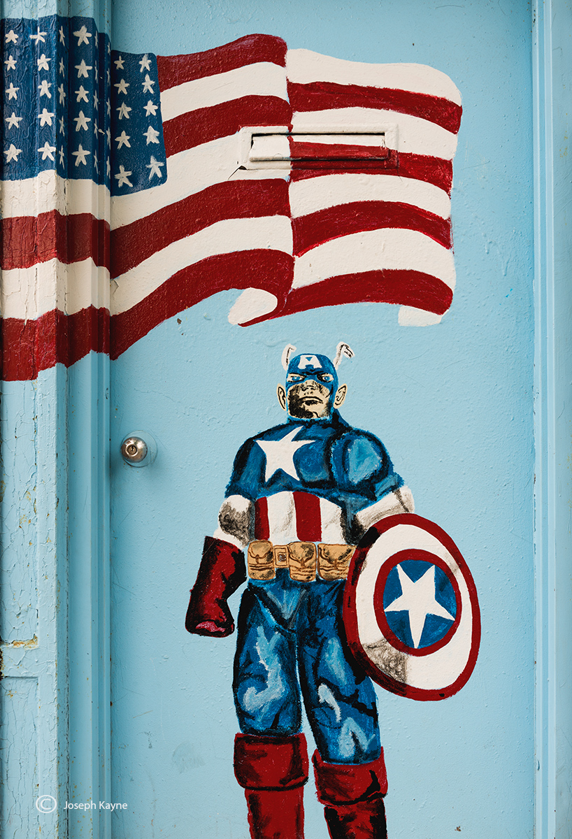 Captain America Painted On An Old Door