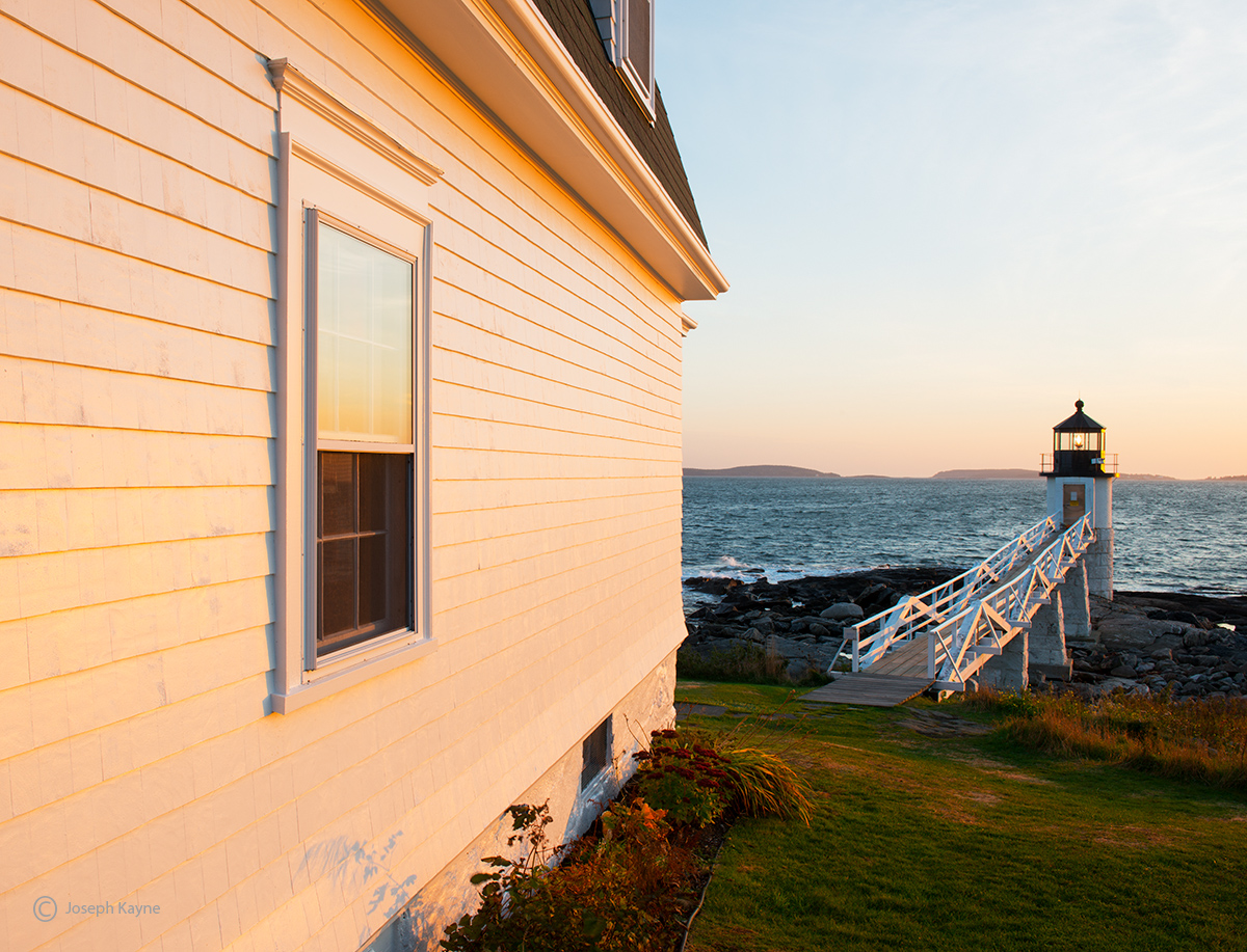 the,lightkeepers,view,maine,lighthouse,sun set, photo