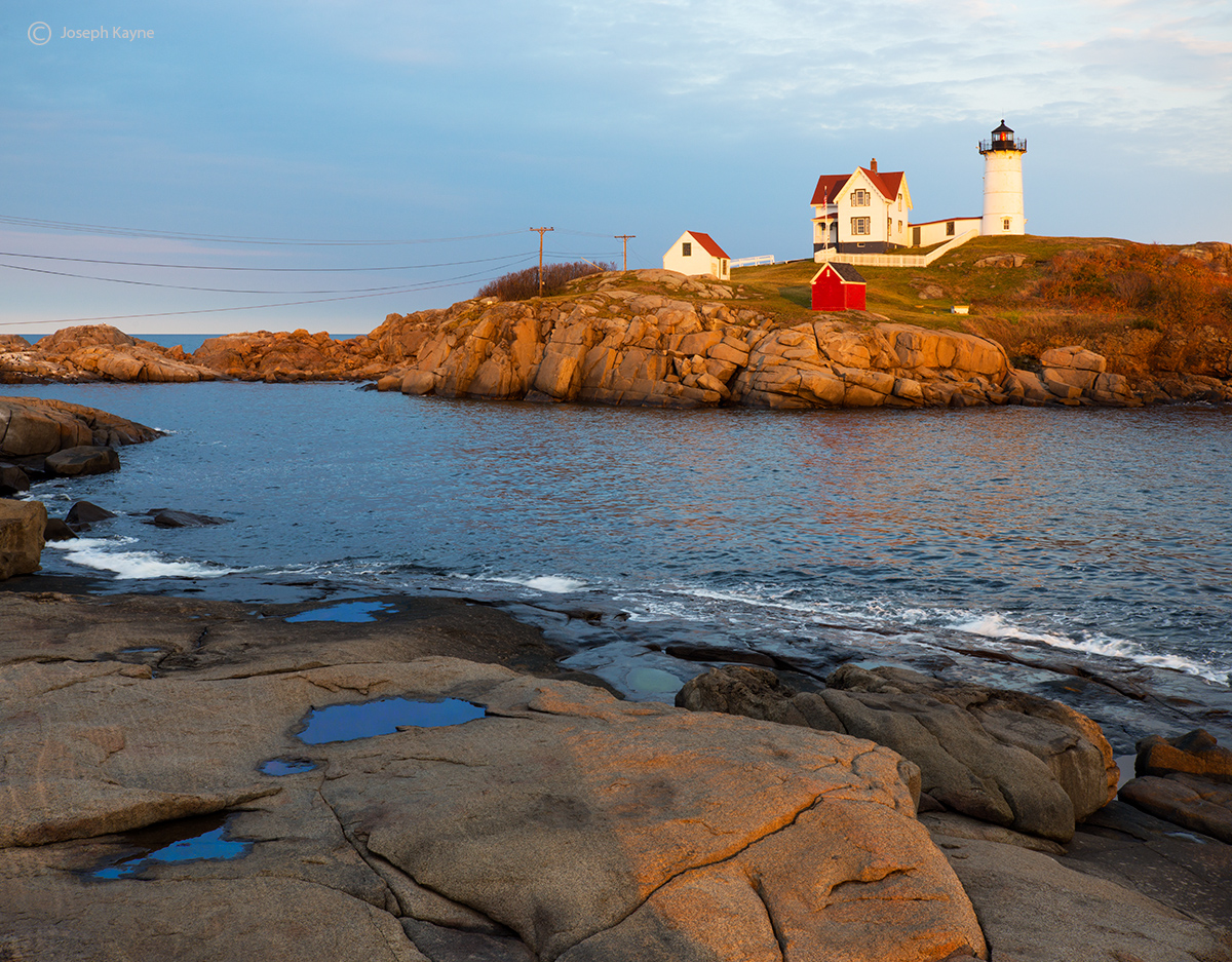 sunset,maine,lighthouse,cape,neddick, photo