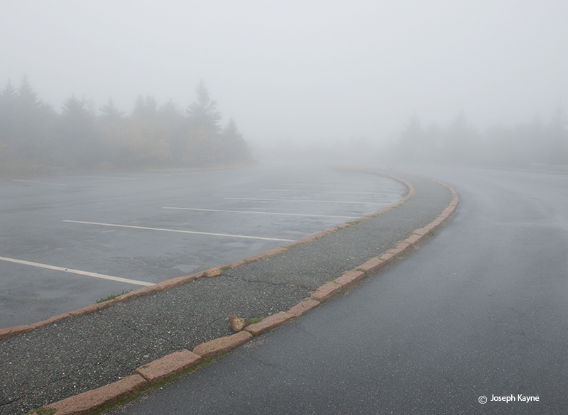 Foggy Parking Lot O Top Of Cadillac Mountain