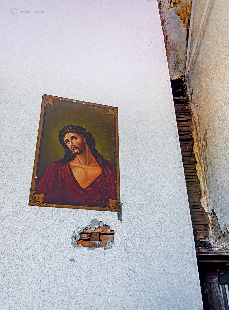 fading,jesus,abandoned,church,rust,belt, photo