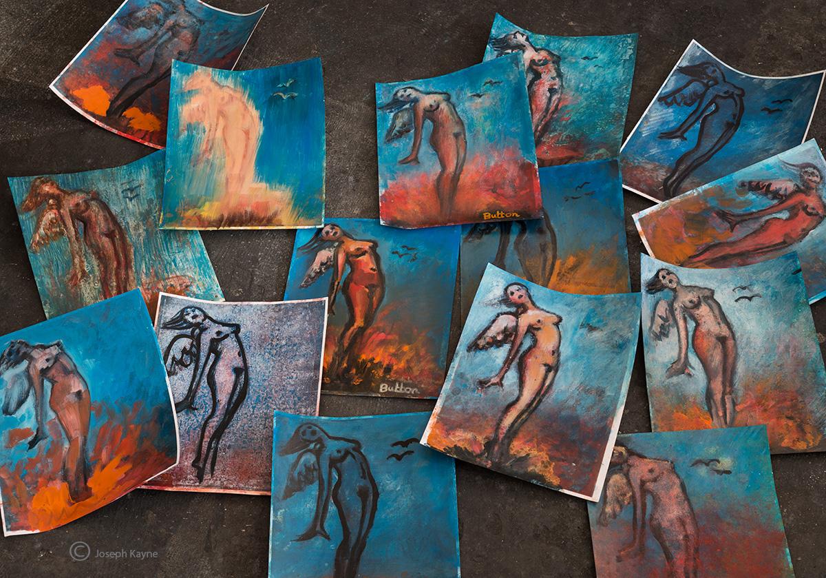 angels,paintings,orinna,buton,studio,chicago, photo