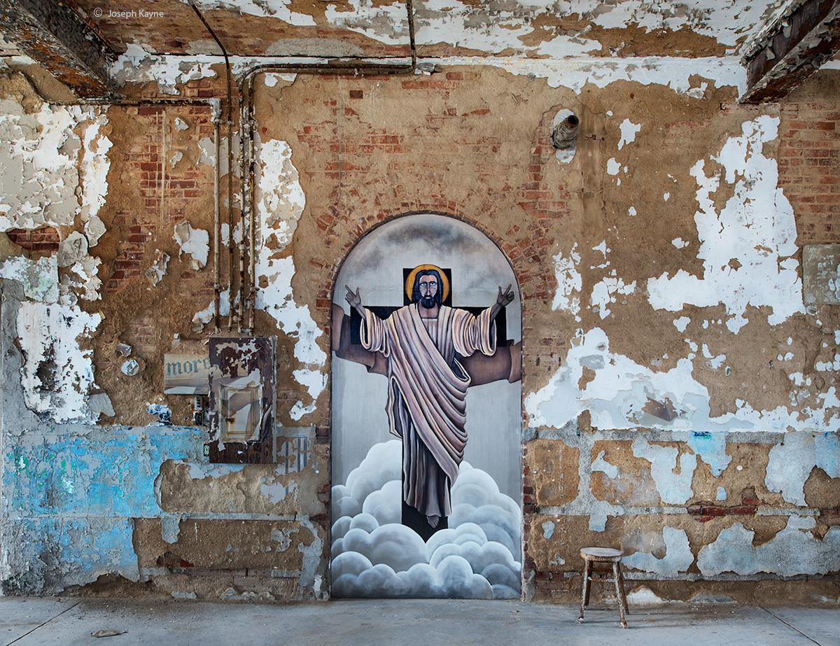 he,has,risen,jesus,mural,abandoned,chapel,rust,belt, photo