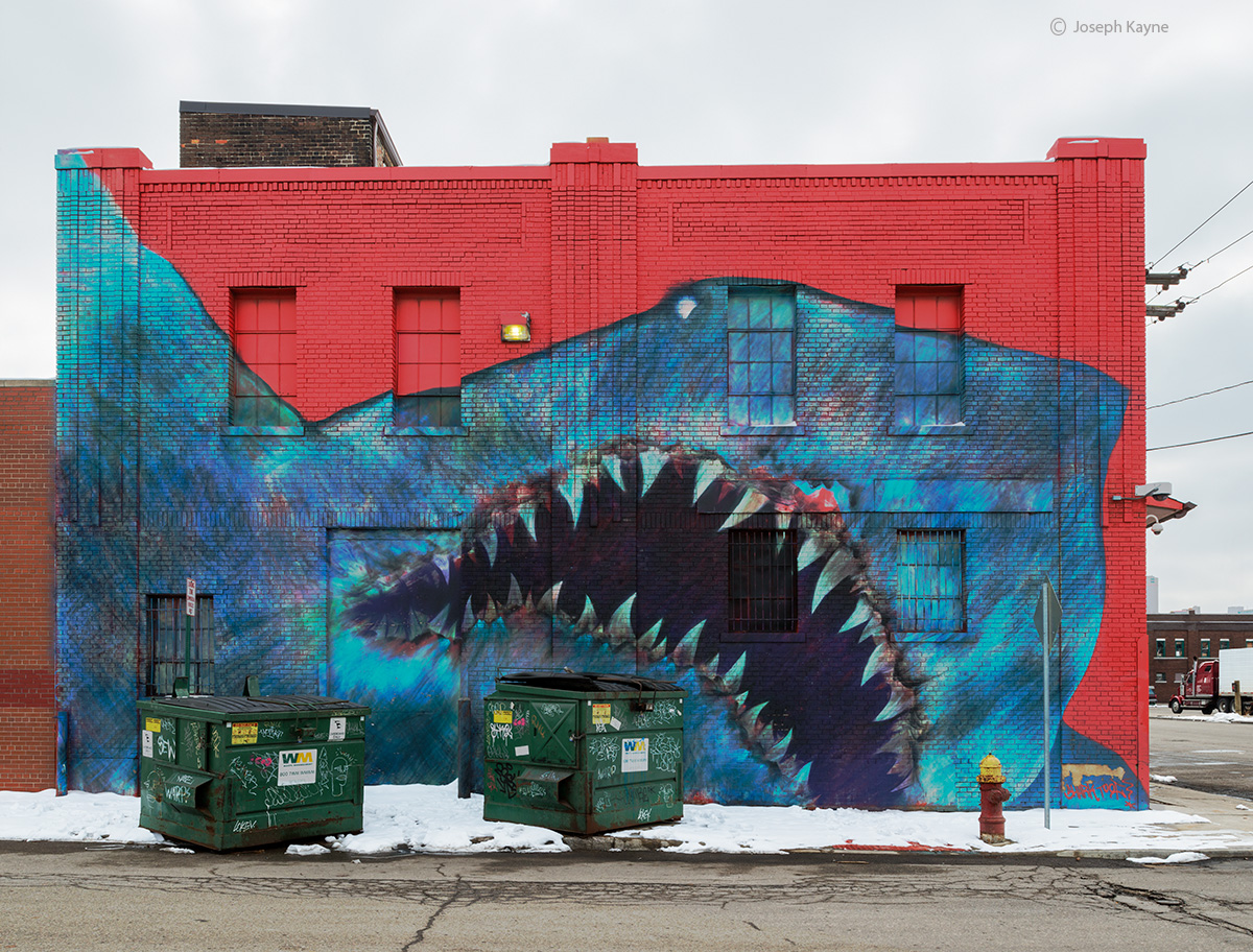 shark,mural,street,art,detroit,shark,toof, photo