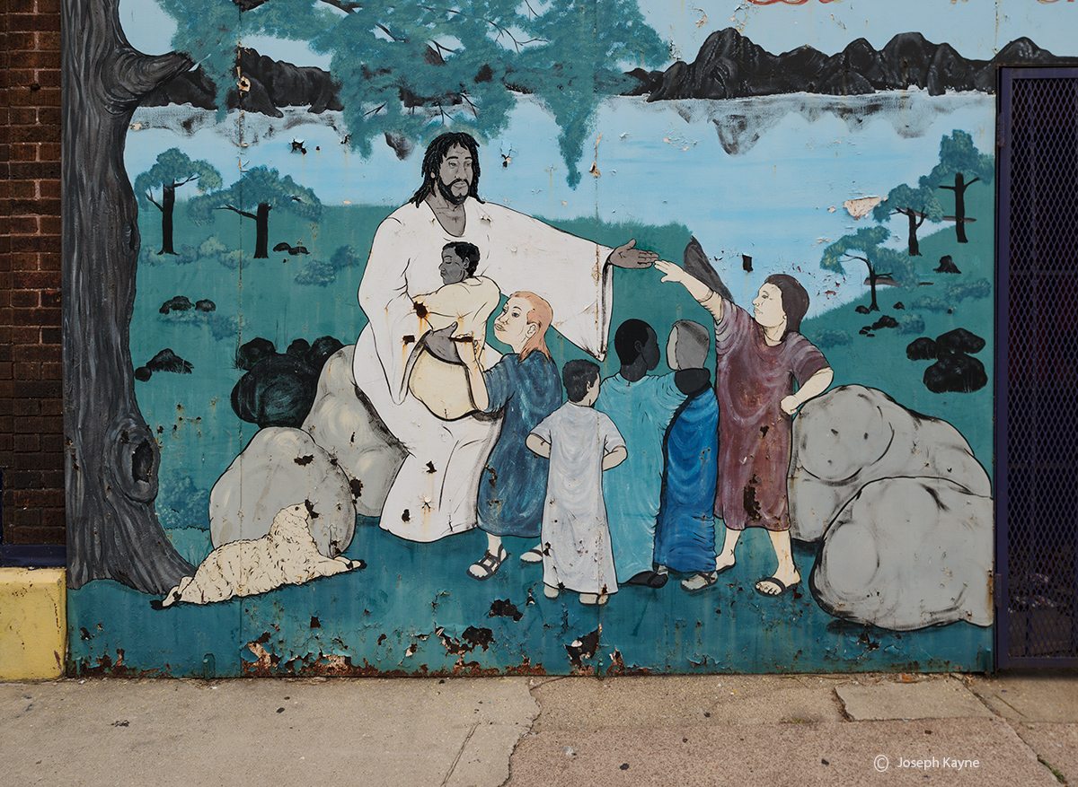 abandoned,storefront,church,mural,decaying,chicago, photo