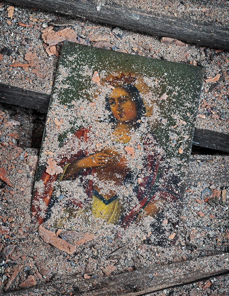 Old Tin Painting In An Abandoned Church