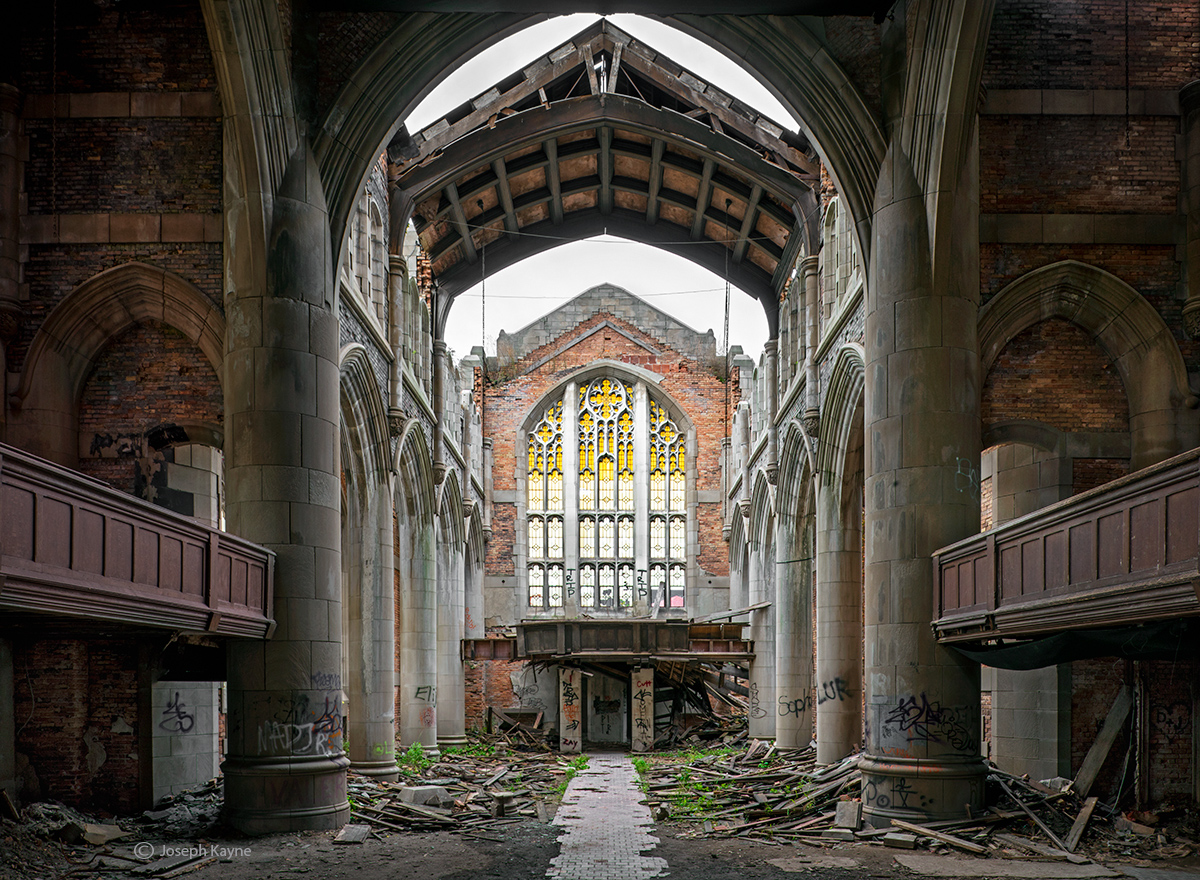 ghostly, cathedral,crumbling,church,rust,belt,abandoned,faith, photo