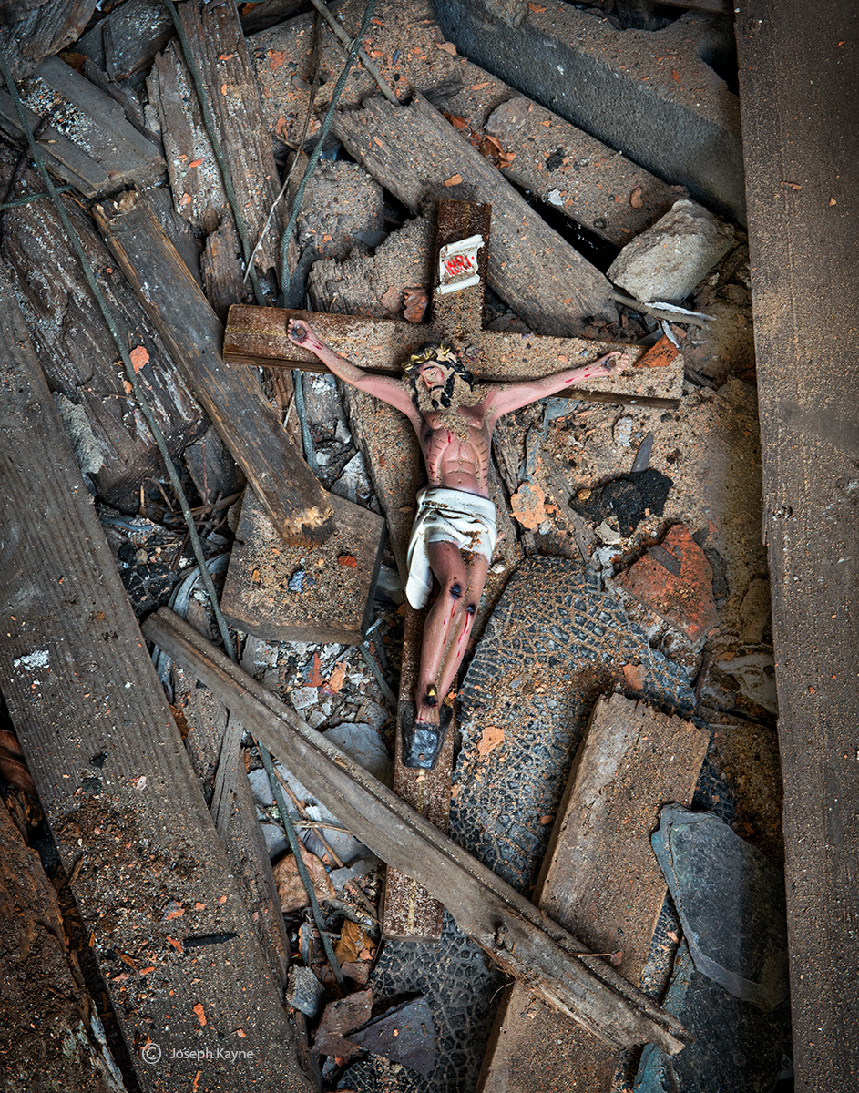 forgotten,cross,fallen,cross,in,abandoned,church,rust,belt, photo