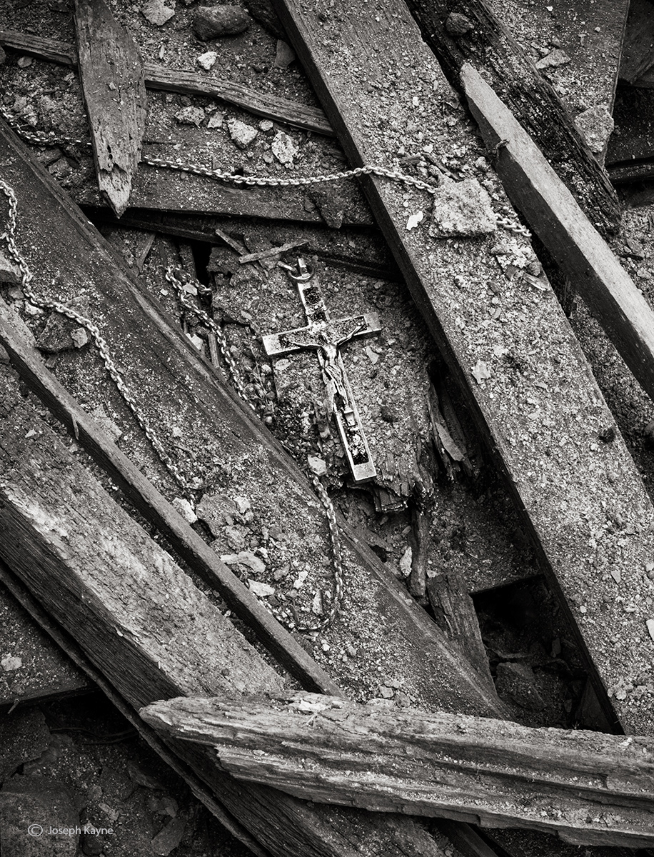 archaeological,treasure,cross,necklace,unearthed,in,abandoned,church,rust,belt, photo